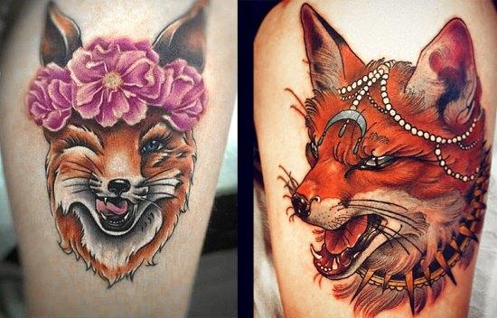 Татуировка лисицы - значение для женщин в зависимости от зоны тела и манеры изображения