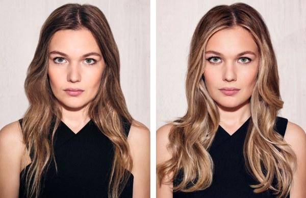 Балаяж на русые волосы средней длины с челкой. Фото до и после