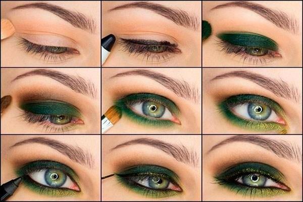 Макияж для зеленых глаз и русых, темных, светлых, рыжих волос. Пошагово с фото в домашних условиях