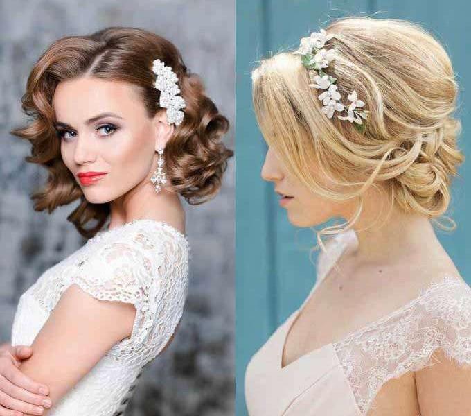 Прическа для средних волос свадебная