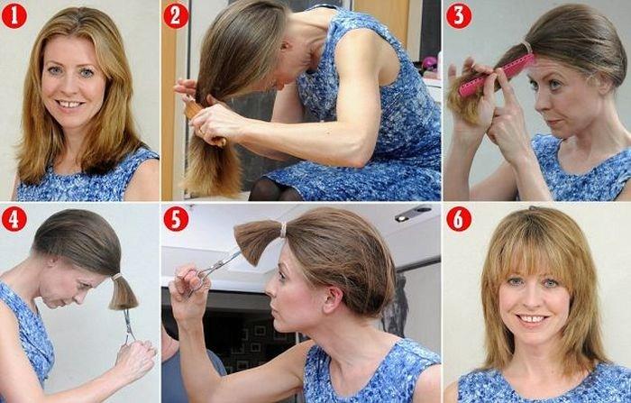 Как сделать волосы короткими не обрезая их 120