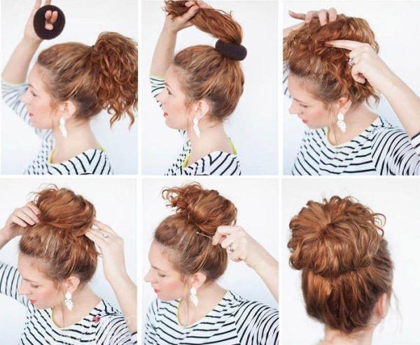 Как сделать пучок с кудрявыми волосами 697