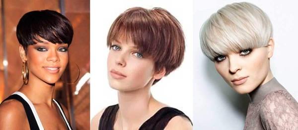 Короткие стрижки с длинной челкой для женщин, на тонкие, жирные и вьющиеся волосы, с коротким затылком, асимметрия. Фото