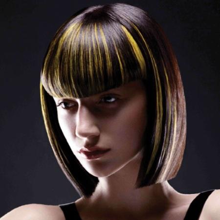 Удлиненное каре на мелированные волосы