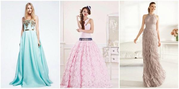 Вечерние платья на свадьбу для невесты: простые, кружевные, а силуэт, рыбка, для полных, голубые, белые, розовые. Фото модных вариантов