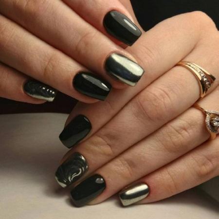 Черный маникюр на короткие ногти. Фото, дизайн геометрия, со стразами, новинки с блестками, втиркой, лунками