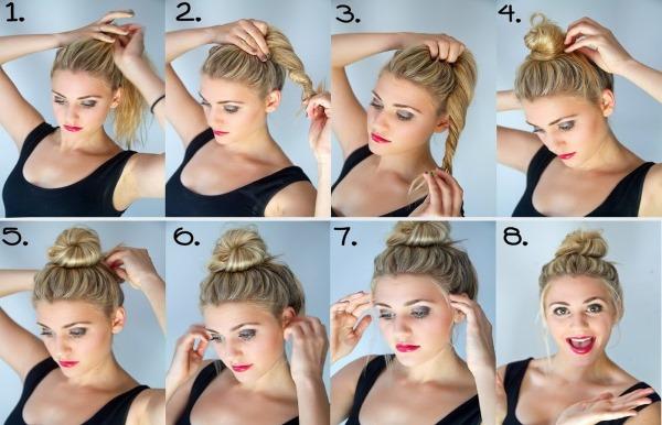 Как сделать пучок с помощью бублика. Пошаговая инструкция укладки прически с фото