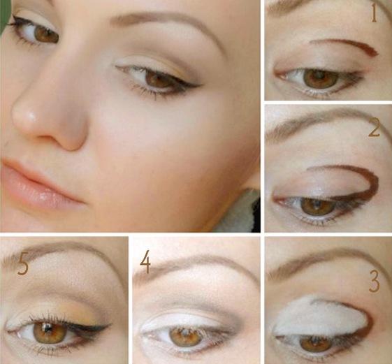 Возрастной макияж для нависшего века и увеличения глаз пошаговое 71