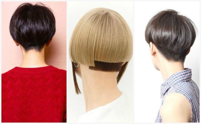 Стрижка шапочка на короткие волосы. Фото, вид спереди и сзади, с челкой, плавным переходом, на ножке