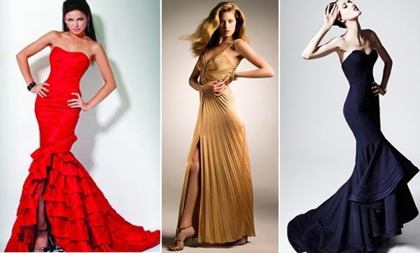Вечерние платья в пол с открытой спиной, длинными рукавами, разрезом по ноге, кружевом. Фото модных платьев