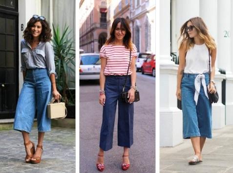 Кюлоты брюки. Фото, с чем носить полным женщинам, с какой обувью, кому идут джинсовые, черные, синие, красные штаны