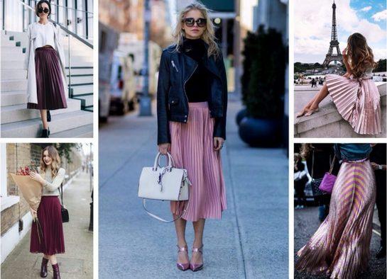 С чем носить плиссированную юбку миди, до колена, длинную в пол, кожаную, бархатную, с кроссовками