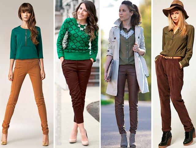 С чем носить коричневые брюки женщинам, мужчинам. Фото: вельветовые, кожаные, в клетку, с принтом, стрелками, узкие и широкие, классические