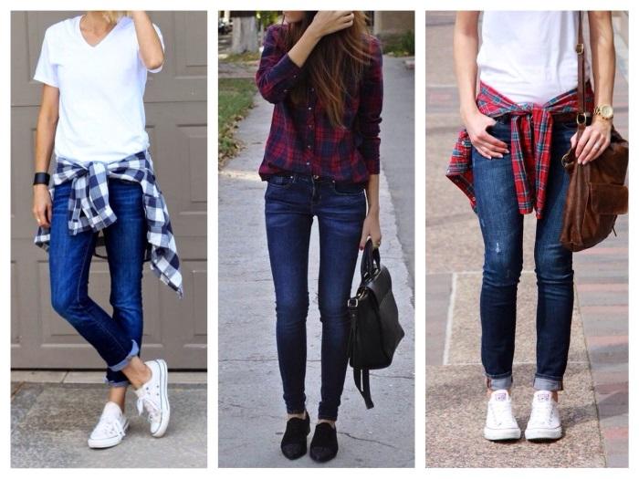 Женские джинсы Скинни. Фото, кому подходят, с чем носить с высокой талией, посадкой, вышивкой, дырками на коленях, укороченные