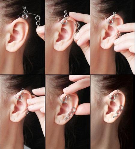 Каффы серьги на уши из золота, серебра, проволоки. Как носить украшение, как сделать каффы своими руками. Мастер класс