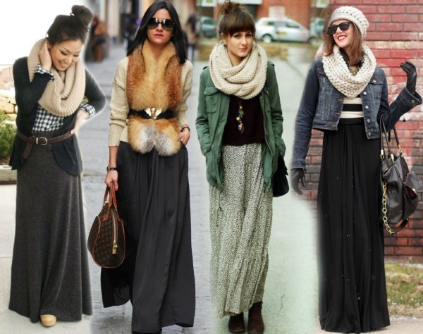 Юбка длинная в пол. Модные тенденции, с чем носить, фото: в клетку, с разрезом, шифоновая, джинсовые, колокол, бохо