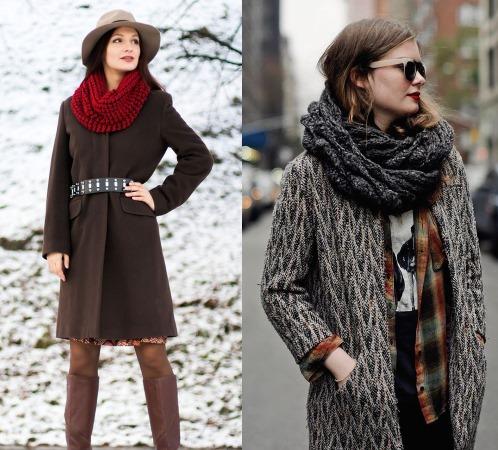 Как носить снуд. Фото, разные способы: с курткой, пальто, капюшоном, в один оборот, на голове. Видео