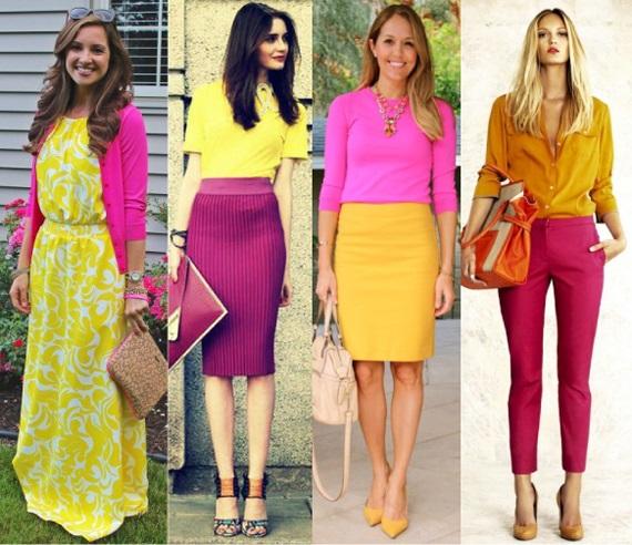 Цвет фуксия в одежде. Фото, сочетание с другими цветами. С чем носить туфли, платье, юбку фуксия