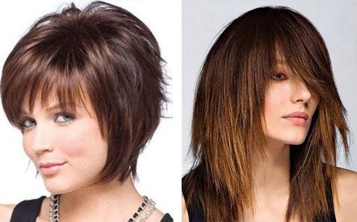 Модные стрижки для тонких, редких волос средней длины с челкой и без, без укладки, с объемом. Фото 2019