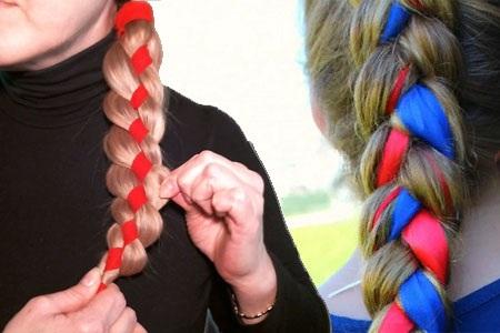 Прически с плетением на средние волосы с челкой, локонами, кудрями, пучком, лентами