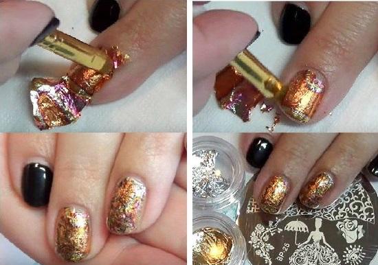 Дизайн ногтей черный с золотом. С камнями, рассыпанный, френч, стразы, серебро, бежевый, нюд