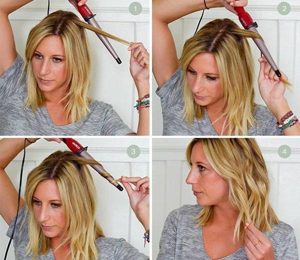 Красивые укладки на средние волосы с челкой, каре, боб. Фото, пошаговая инструкция