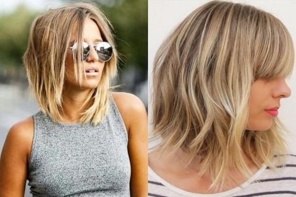 Модные женские стрижки на тонкие волосы средней длины. Фото с челкой и без