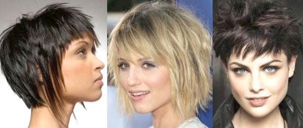 Модные рваные стрижки на короткие волосы с челкой и без. Вид спереди и сзади. Фото