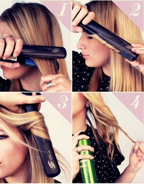 Как завить волосы утюжком. Профессиональная укладка на средние и длинные волосы. Фото