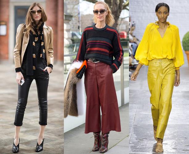 Кожаные брюки. С чем носить женские штаны, фото модных образов 2020