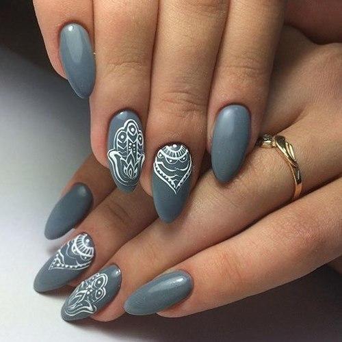 Серый маникюр на коротких ногтях. Фото, дизайн с рисунком, новинки 2019