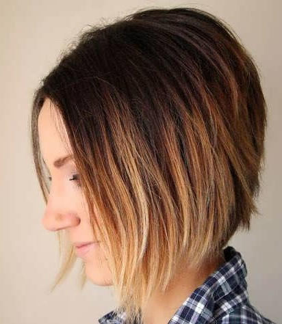 Омбре на темные волосы каре. Фото с челкой, каштановые, русые, темные