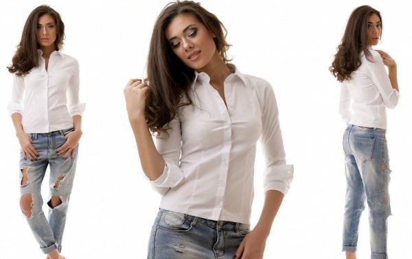 Белая женская блузка. С чем носить свободную, шелковую рубашку, для полных