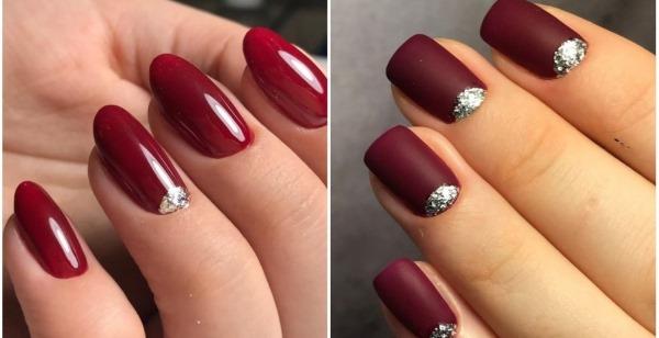 Бордовый маникюр на короткие ногти. Фото, дизайны и тенденции 2019
