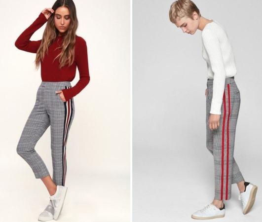 Женские брюки с лампасами. С чем носить штаны, фото модных образов