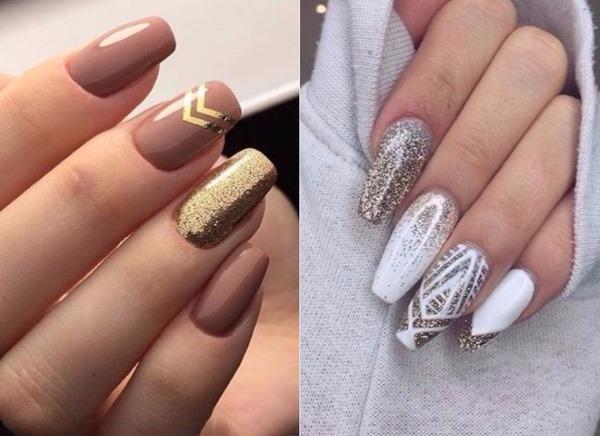 Дизайн ногтей в темных цветах и оттенков. Фото маникюра со стразами, блестками, френч на короткие, длинные ногти