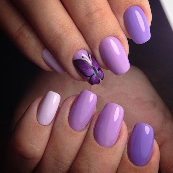 Фиолетовый маникюр на короткие ногти. Сочетание цветов, фото, новинки 2019 гель-лаком