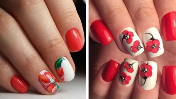 Красный гель лак-дизайн. Фото на короткие, длинные ногти. Идеи со стразами, блестками