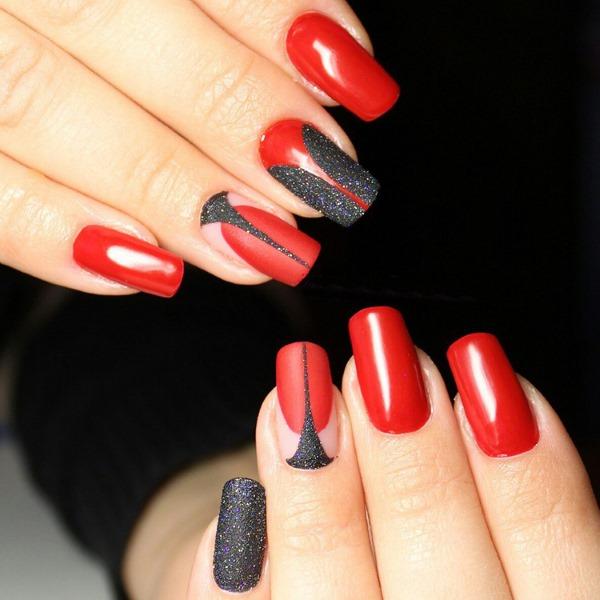 Маникюр красный с черным. Фото, новинки дизайнов 2020, на короткие и длинные ногти