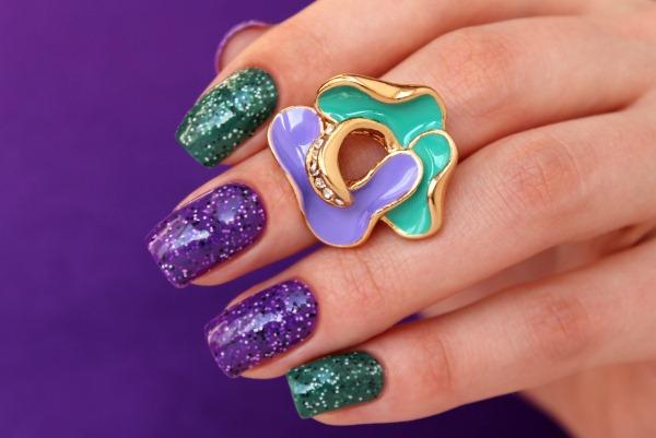 Маникюр в фиолетовых тонах на короткие и длинные ногти гель-лаком, шеллаком. Фото