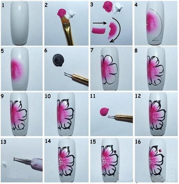 Рисование на ногтях для начинающих гель-лаком, акварелью, акриловыми красками, вензеля. Схемы, инструкции