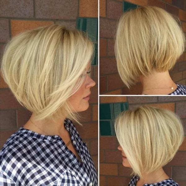 Стрижки с косой челкой на средние волосы и объем на макушке. Фото женские