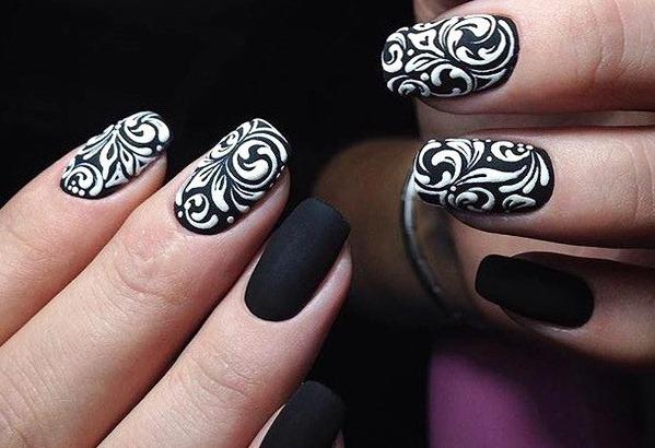 Маникюр в черном дизайне гель-лаком. Фото на короткие, острые, длинные ногти, френч, матовые, полоски