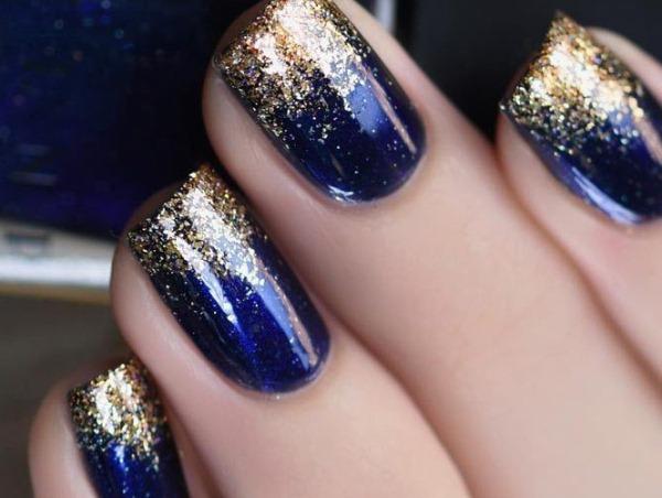 Синий маникюр на короткие ногти. Фото, дизайны гель-лаком 2019
