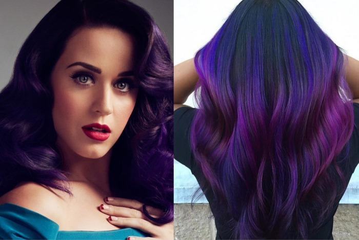 Темно-фиолетовый цвет волос парням и девушкам. Фото, краски, техники окрашивания