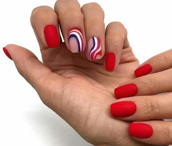 Красные матовые ногти дизайн 2019. Фото новинки со стразами, серебром, френчем, золотом, рисунком