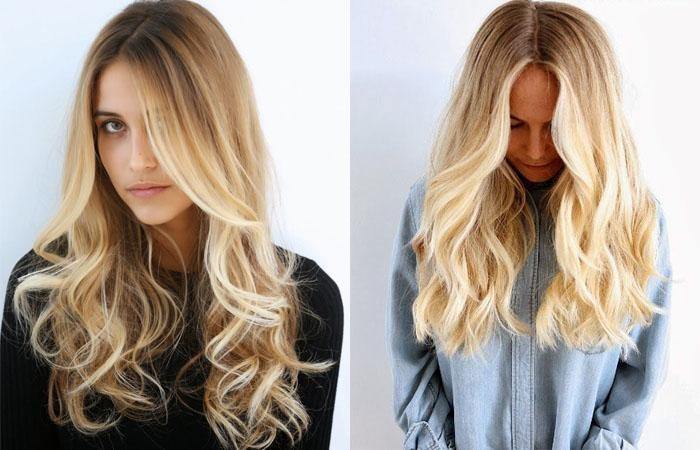 Окрашивание блонд с темными корнями на короткие, средние, длинные волосы. Фото