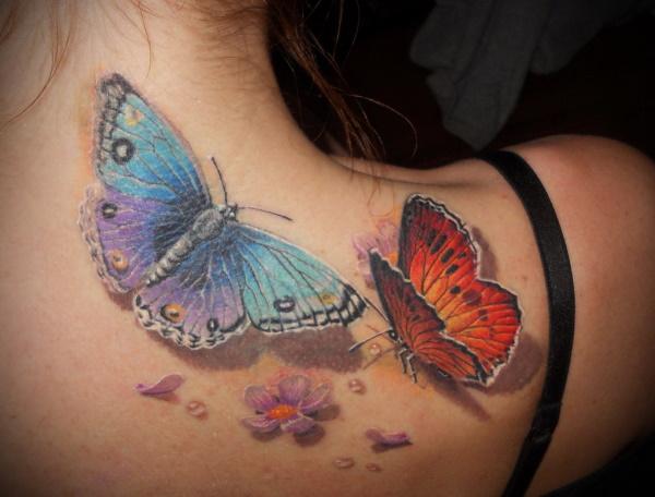 Тату бабочка. Значение для девушек, фото, эскизы на пояснице, руке, попе, шее, ноге, плече