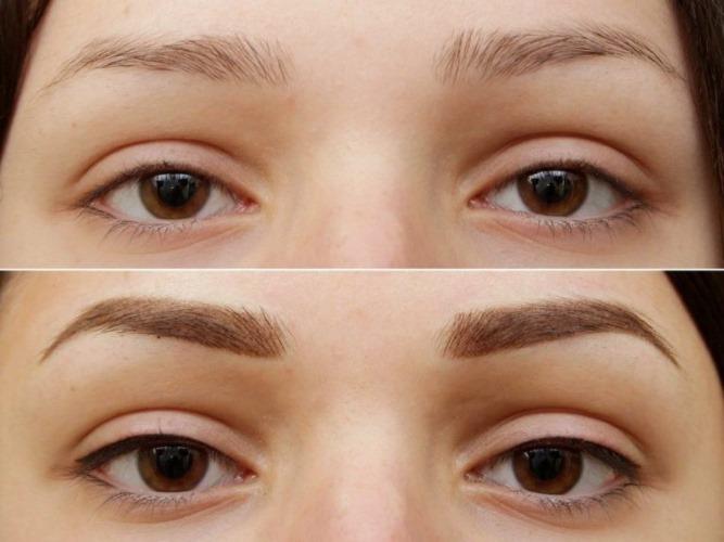 Татуаж бровей пудровый эффект. Фото до и после, сколько держится, заживает, как делается