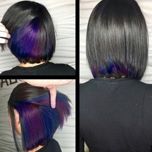 Фиолетовые пряди на темных длинных, коротких, средних волосах. Как сделать окрашивание, фото